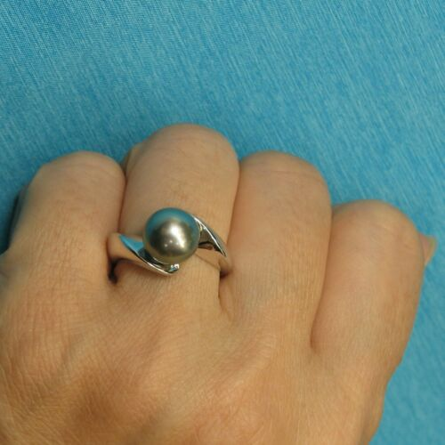 9.5mm Genuine Silver Tone Tahitian Pearl 14k White Solid Gold Solitaire Ring TPJ