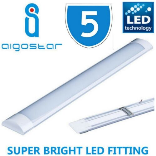 5x 5FT LED BATTEN STRIP TUBE LIGHT WALL CEILING MOUNT BRIGHT COMPLETE FITTINGS