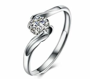 Solitaer-Ring-925er-Sterling-Silber-Rhodiniert-Zirkonia-AAA-Groessenverstellbar