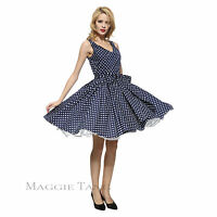 Maggie Tang 50s Polka Dots VTG Retro Rockabilly Pinup Party Swing Dress S-514