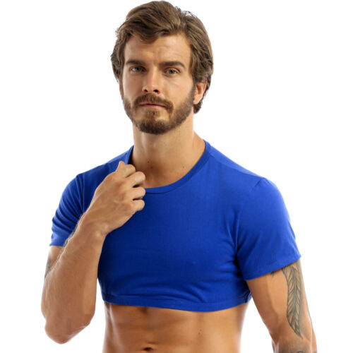 Men/'s Crop Tops Short Sleeve T-Shirt Basic Casual Fitted Top Pullover Blouses