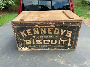 Antique-Kennedy-039-s-Biscuit-Wooden-Box-Cambridgeport-Mass-Tit-Willow-Wood-Crate