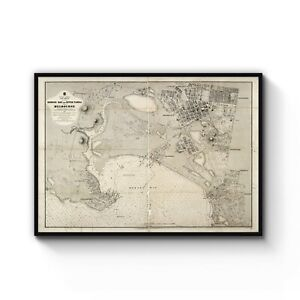 Melbourne Australia World Map.Details About 1864 Vintage Map Port Phillip Bay Melbourne Australia Art Print Poster A4 B1
