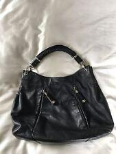 $995 Michael Kors Tonne Black Leather Hobo Bag Shoulder Purse Python Tassel