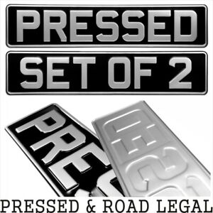 SET-OF-2-OBLONG-Black-and-Silver-Pressed-Number-plates-Car-Metal-Classic-pair