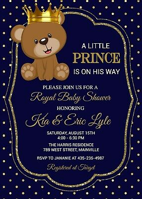 Teddy Bear Prince Baby Shower Invitation Royal Boy Ebay
