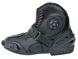 Motorradstiefel-kurze-Racing-Boots-ATROX-Motorrad-Lederstiefel-schwarz-Gr-40-45