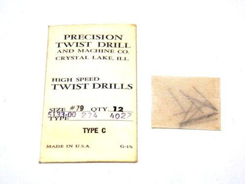 Wire Gauge Drill Bits...... C-1-2 12 PTD Precision Twist Drill #79 .0145