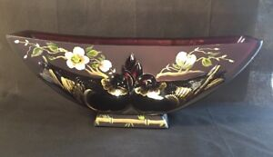 Fenton-Verlys-Birds-Vase-Hand-Painted-Cherry-Blossoms-On-Aubergine-Limited