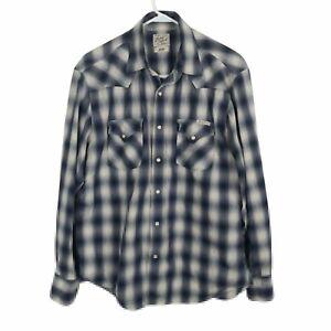 Lucky-Brand-Western-Shirt-Sz-L-Long-Sleeve-Blue-Beige-Plaid-Pearl-Like-Snaps