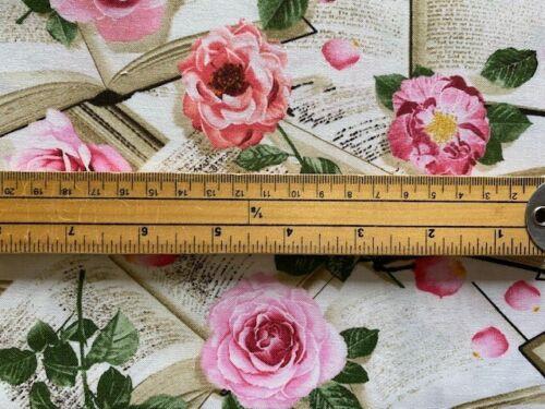 Tela 100/% algodón tesoros atemporales C8068 rosas y libros