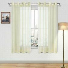 Set of 2 Window Curtain Panels DWCN Ivory Floral Lace Sheer Curtains Grommet Voile Sheer Drapes for Bedroom Kitchen Short Curtains 42 x 45 inch Length