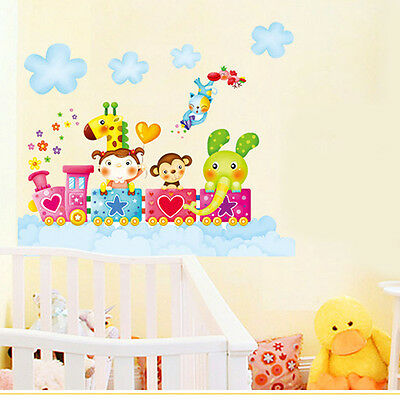 Happy Animal Elephant Removable Wall Stickers For Kids Rooms Decal Home Art