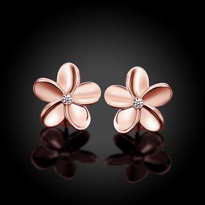 18K rose gold plated pretty flower woman girls kids stud earring 14mm + bag