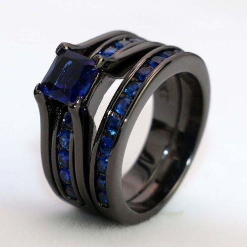 sz6-13 Couple Rings Black Tungsten Mens Band Sapphire Women/'s Wedding Ring Sets