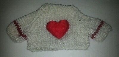 Valentine Knit Teddy Bear or doll Sweater Clothing White Red Heart Applique S