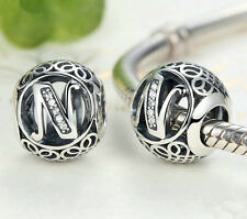 hot letters N European Silver CZ Charm Beads Fit sterling 925 Bracelet Chain #5