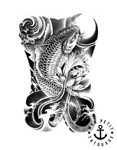 Tatouage Temporaire Ephemere Carpe Koi Fleur De Lotus Asie