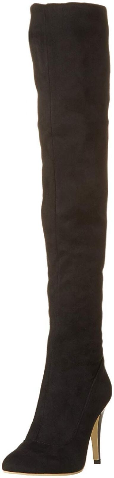 shoes'N Tale Women Over The Knee High Stretchy PU-Leather Thigh High Heel Boots