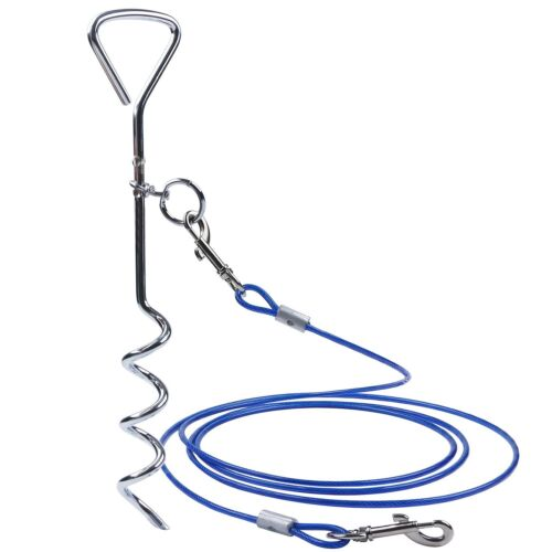Strong Pet Dogs Tie-Out Cable Lead /& Metal-Stake Steel Wire Chain Leash Durable