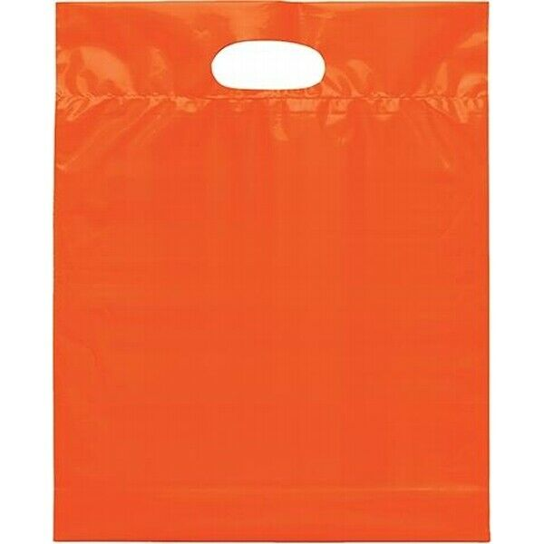 """Bags Direct Glossy Plastic Bags /""""Thank You/"""" Hot Pnk 9x12/"""" Die-Cut Handle 50Pcs"""