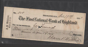 First National Bank of Highland New York Used Check 1907