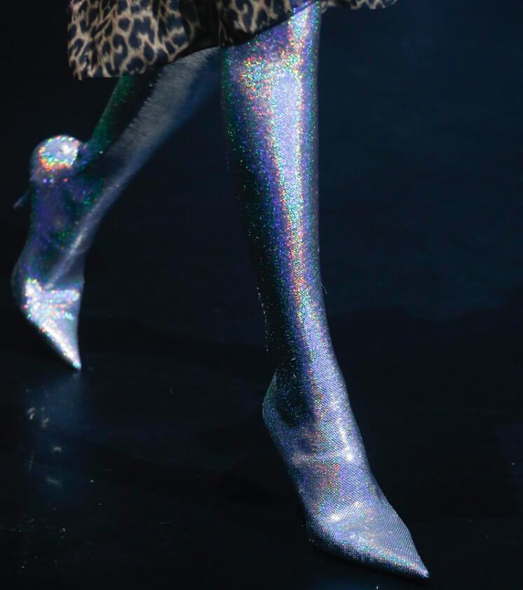 Womens High Gold Pointed Toe Thigh High Womens Boots Stilettos High Heels Plus Sz Pull On U5 11f410