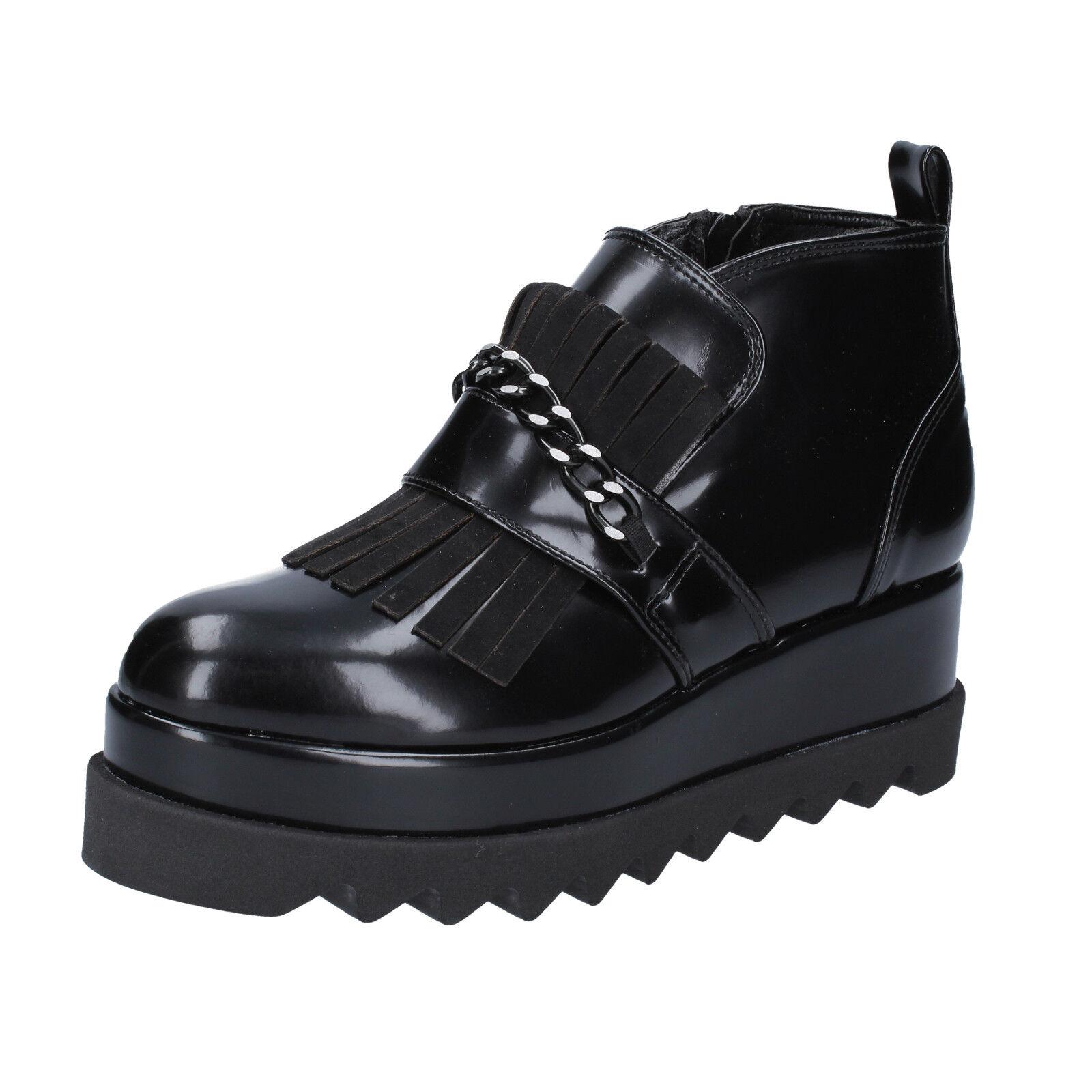 Zapatos señora olga Burini 36 UE botines elegante cuero negro bx782-36
