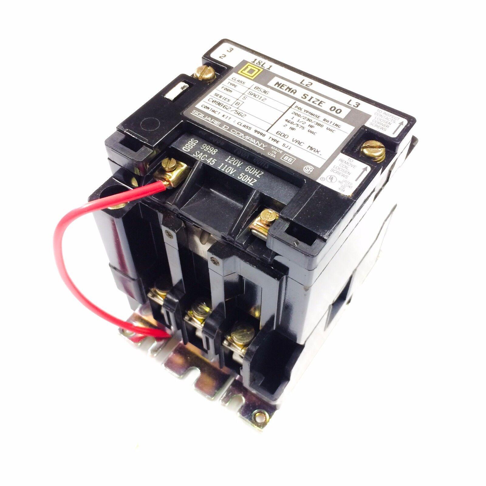 square d class 8502 type sa0 12 series b es contactor nema size 00 rh ebay com