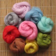 1kg Merino Wool Tops 64's Dyed Fibres - Light - Felt Making and Spinning