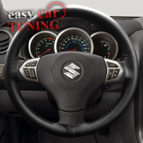 FOR SUZUKI SWIFT 2004-2010 BLACK REAL GENUINE LEATHER STEERING WHEEL COVER FITS