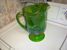 VINTAGE GREEN GRAPE INDIANA CARNIVAL GLASS PITCHER