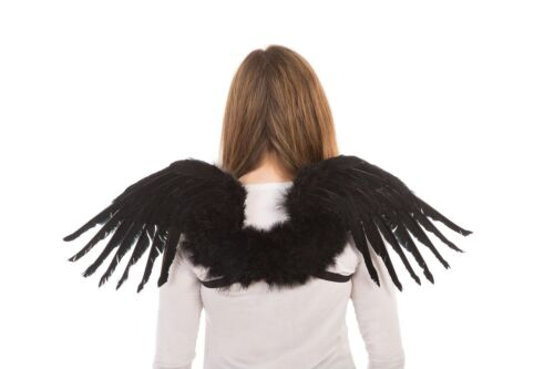 Black Feather Swan Wings Angel Wings Mythical Adult Fancy Dress Accessory