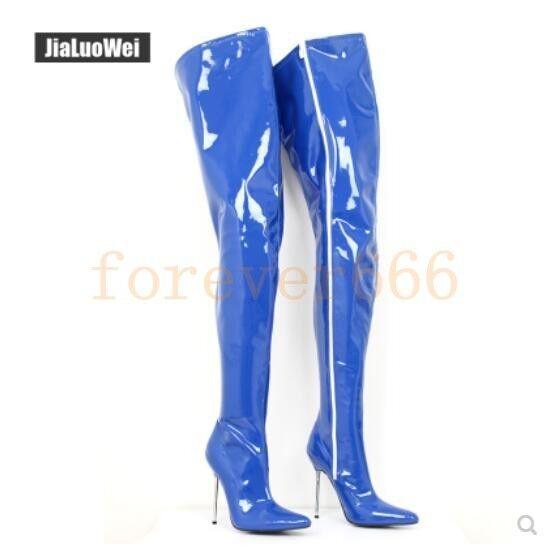 Damen Stiefel Sexy High Heels Overknee-Stief Nachtclub Lackleder  45 46  zip