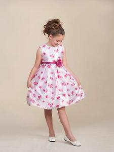 Sweet-White-Sleeveless-Pink-Floral-Flower-Girl-Pageant-Dress-Crayon-Kids-USA-979