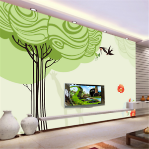3D Green Tree Flower Bird 7 Wallpaper Mural Paper Wall Print Wallpaper Murals UK