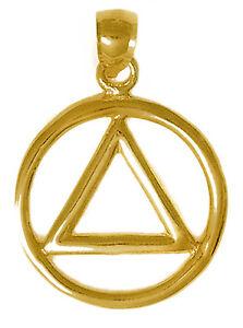 Alcoholics Anonymous Style #01-1,14k Gold AA Classic Symbol Pendant Medium Size
