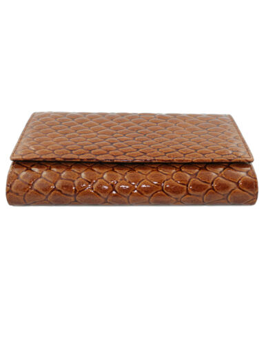 Tri-fold Cavalieri Large Moc Croc Effect Leather Purse Tan 11 Card Slots,