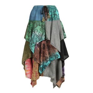 Boho hippie vintage style up-cycled patchwork frilled hem maxi wrap skirt freesize up to size 18 p6