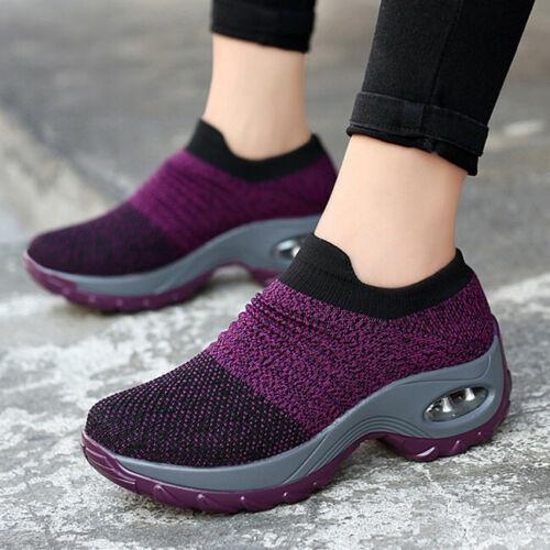 Women Fashion Air Cushion Sneakers Breathable Mesh Walking Slip-On Running Shoes