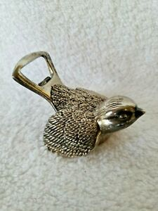 Vintage Silver Metal SPARROW Bird DUAL 2 way bottle opener Barware Bar Ware EUC