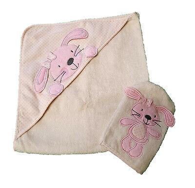 Baby Geschenkset Kapuzenbadetuch Waschhandschuh Kinder Handtuch 1872-Kaninchen