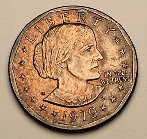 1979 US SUSAN B ANTHONY ONE DOLLAR BU UNC COLOR TONED COIN