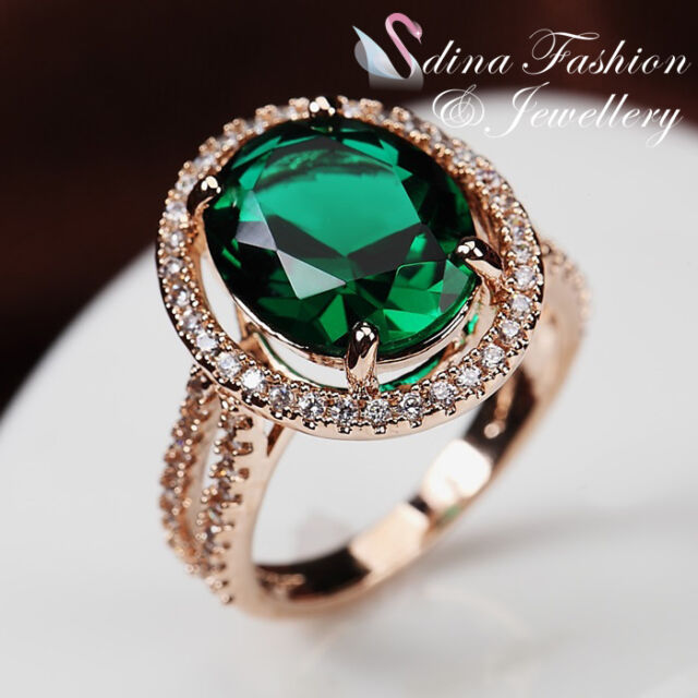 18K Rose Gold Plated Genuine Swarovski Crystal Luxury Halo Dark Emerald Ring