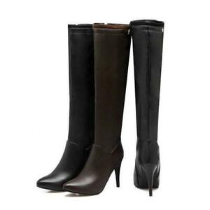 women knee high boots slouch pointed toe leather stiletto