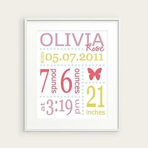 Image Is Loading Personalized Nursery Art Print 8x10 Birth Stats