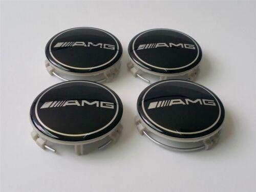 UK 4 un Mercedes Benz Aleación Centro De Rueda Caps 75 mm insignias Negro AMG B C E ML CLK