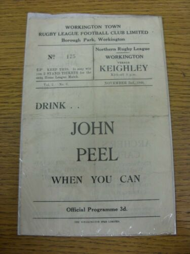 02111946 Rugby League Programme Workington Town v Keighley folded, creased,