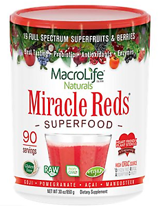 Miracle Reds Superfood Powder with Goji, Pomegranate, Acai & Mangosteen (90 Serv