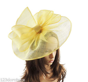 Image Is Loading Yellow Fascinator Hat For Weddings Ascot Proms With